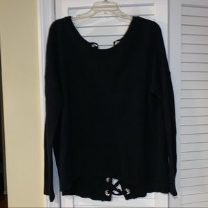 Beautiful Express tie up back black chunky sweater